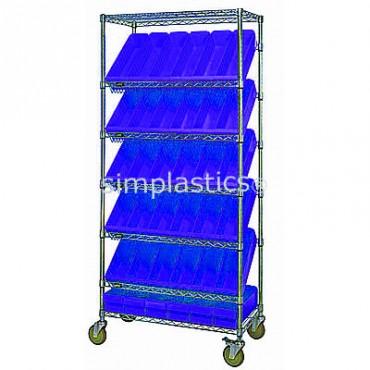 Mobile Slanted Wire Shelving Unit - 7 Shelves - 18x36x74 - 54 MED604