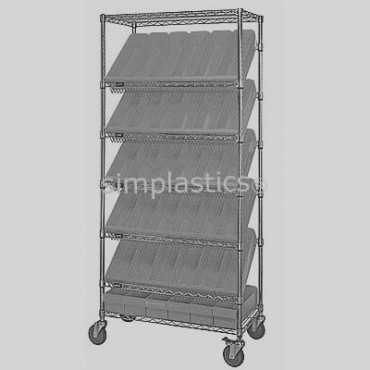 Mobile Slanted Wire Shelving Unit - 7 Shelves - 18x36x74 - 24 MED606