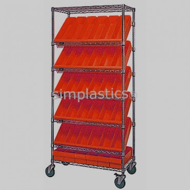 Mobile Slanted Wire Shelving Unit - 7 Shelves - 18x36x74 - 36 MED602