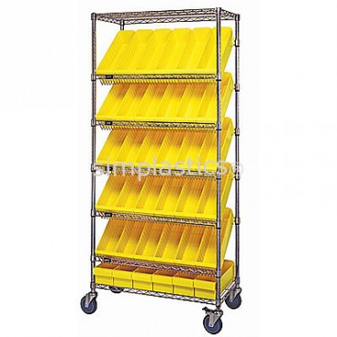 Mobile Slanted Wire Shelving Unit - 7 Shelves - 18x36x74 - 54 MED604