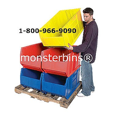 Double sided 16 rail stand for hanging plastic bins