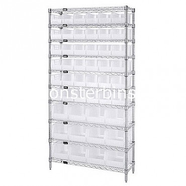 Wire Shelving Unit with 10 Shelves and 36 QUS230, 12 QUS240 Clear Bins